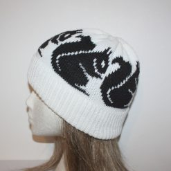 White Beanie Hat with Black Squirrels - with or without Pompom option - Teenager upto adult