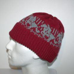 Grey Jumping Horses on a Green Beanie Hat - with or without Pompom option - Teenager upto adult