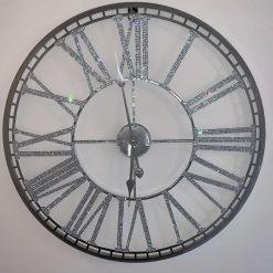 70cm Silver Crystal Wall Clock