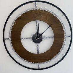 60cm Dark Wood Crystal Wall Clock