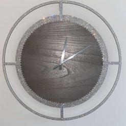 60cm Silver Wooden Crystal Wall Clock