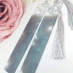 Grey Shimmer Handmade Resin Bookmark FREE SHIPPING