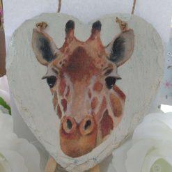 Decoupaged Hanging Giraffe Slate Heart with plain creamy background