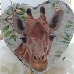 Decoupaged Hanging Giraffe Slate Heart with White Leafy Background