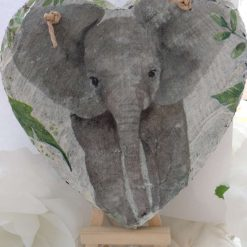 Decoupaged Hanging Elephant Slate Heart Surrounded By Green Leaves