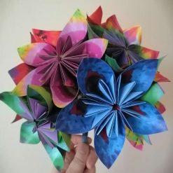 Origami paper flower wedding bouquet