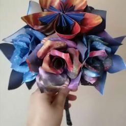 Handmade paper flower rose and origami bouquet