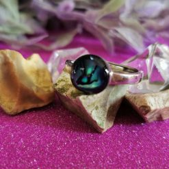 Abalone Shell 925 Stamped Sterling Silver Adjustable Ring