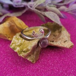 Natural Amethyst and Cubic Zirconia Peacock 925 Sterling Silver Adjustable Ring