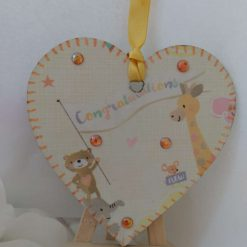 Decoupaged New Baby Pale Yellow Wooden Heart