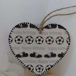 Decoupaged Happy Birthday Wooden Heart with Footballs and Boots