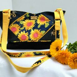 Sunflower and Denim Embroidered Shoulder Bag from Sand Bags, St Ives by Naomi