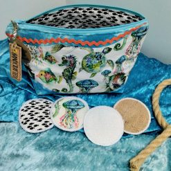 Underwater Themed Cosmetics Bag with 4 Reusable Face Wipes from Sand Bags, St Ives by Naomi