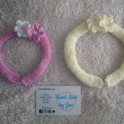 Children's hand knitted flower headband