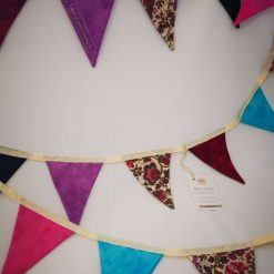 Bright fabric bunting double sided handmade in jewel bright pinks purples and floral