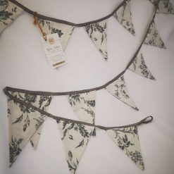 White and grey floral bunting handmade double sided with silver ribbon trim