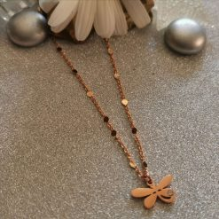 Anklet with Rose Gold Dragonfly Charm