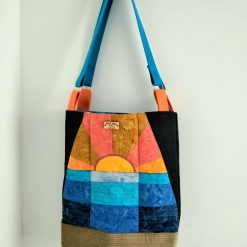 Sunset Parchwork and Denim Beach Bag from Sand Bags, St Ives by Naomi