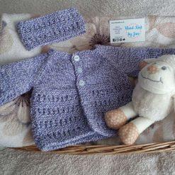 Baby girl purple mix matinee cardigan with matching headband age 0-3 months