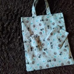 Cute cat foldaway bag with matching hand sanitizer holder