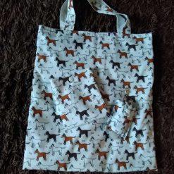 Cute dog foldaway bag with matching hand sanitizer holder