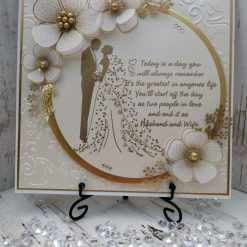Luxury Handmade Wedding Card - Opal & Gold with Bride & Groom - with sentiment front