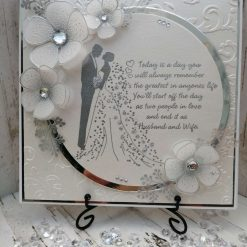Luxury Handmade Wedding Card - Silver & Quartz with Bride & Groom - with sentiment front