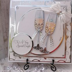 Luxury Handmade 'To A Special Couple' - Silver Champagne glasses with swirl background