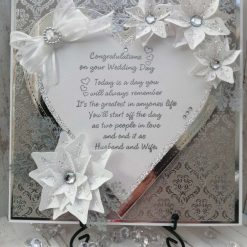 Luxury Handmade 'Today is a day you will always remember..' - Silver & White Heart wedding card