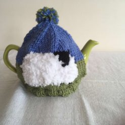 Sheep Tea Cosy - Hand Knit in Merino Wool - for 2 cup pot - Black & White