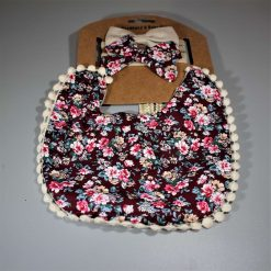 Double Sided Floral Bib Set with Matching Bow Headband