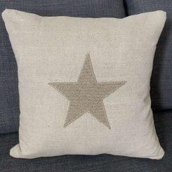 Appliqué Star Oatmeal Linen Cushion Cover, Laura Ashley Austen Fabric