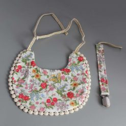 Double Sided Floral Bib Set with Matching Dummy Clip