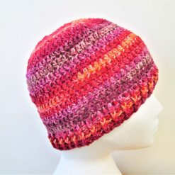 Red striped crochet beanie hat - Free 1st class shipping