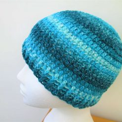 Turquoise striped crochet beanie hat - Free 1st class shipping