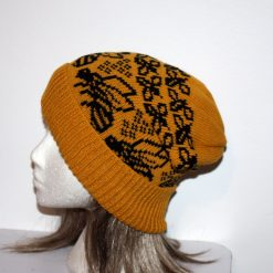 Bumble Bees on a Golden Mustard Slouchy Beanie Hat - with or without pompom - adult size