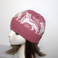 White Labrador, Pyrenees Husky Dogs on Dusty Pink Beanie Hat - with or without pompom option - teenager upto adult size