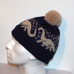 Navy Blue beanie hat with beige Brontosaurus Dinosaurs with or without pompom