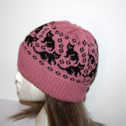 Black Cats Kittens on Dusty Pink Beanie Hat - with or without pompom top - teenager to adult size