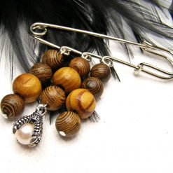 Kilt Pin Brooch, Medal Style, Wood Beads with Dragon Claw Charm, Handmade, Free UK Postage (Copy)