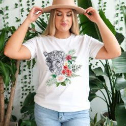 Leopard with flowers - Ladies T-Shirt (UK Sizes 8-40) - Design by Handmade By Pixies - Made to Order