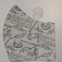 Harry Potter polyjuice themed machine washable, re-usable, 2-layer fabric face mask with pocket for additional filter. 5 sizes available. Matching scrunchie available.