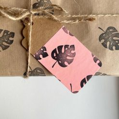 Hand Stamped Monstera Leaf Gift Wrap & Neon Pink Gift Tag (1 sheet & 1 tag)