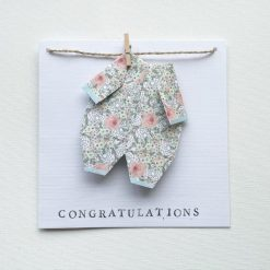 New Baby Card, Baby Shower Card, Pregnancy Card, Baby Congratulations Card, Mummy To Be, Expecting Card - Handmade Origami and Ink Stamp