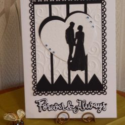 Silhouette Couple & Hearts Wedding, Anniversary or Engagement Card