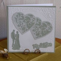 Teal Hearts & Couple Wedding Card with optional gift wallet & tag