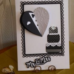 Bride & Groom Hearts & Cake Wedding Card