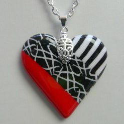 Black, White and Red Heart Pendant