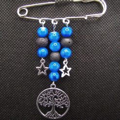 Kilt Pin Diffuser Brooch, Glass Beads with Tree of Life and Stars charms, Handmade, Free UK Postage