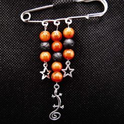 Kilt Pin Diffuser Brooch, Glass Beads with Gecko and Stars charms, Handmade, Free UK Postage